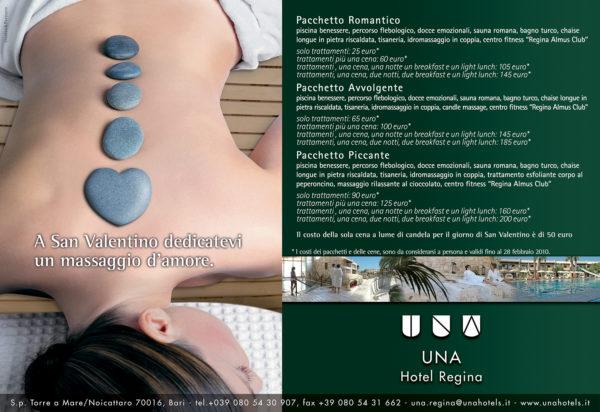Una Hotel Regina pagina pubblicitaria San Valentino